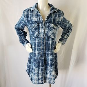 Cloth & Stone Acid wash flannel tunic shirt dress
